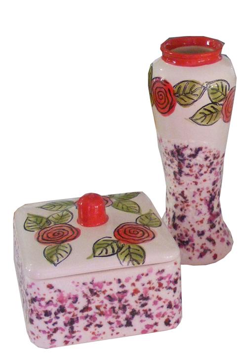 Cabbage Rose Box & Vase