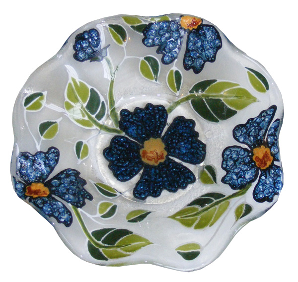 Diffused Glass Bowl/Tray and Jewerly
