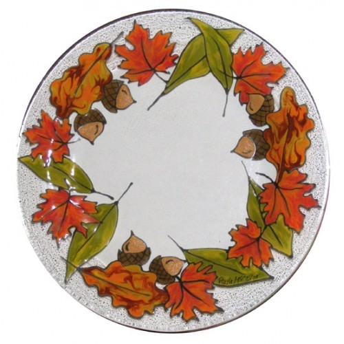 Fall Leaves Glass Plate (2009 Retreat Holiday)(Hardcopy)