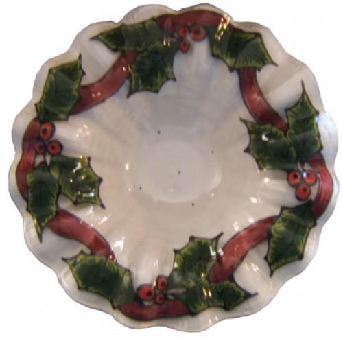 Holly & Ribbon Glass Candle Cup (2008 Retreat Oregon)(Hardcopy)