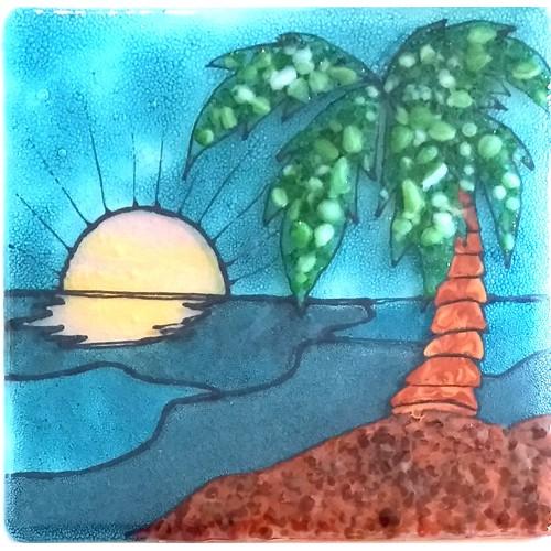 Palm Tree Glass Panel