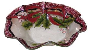 Holly & Ribbon Glass Dish