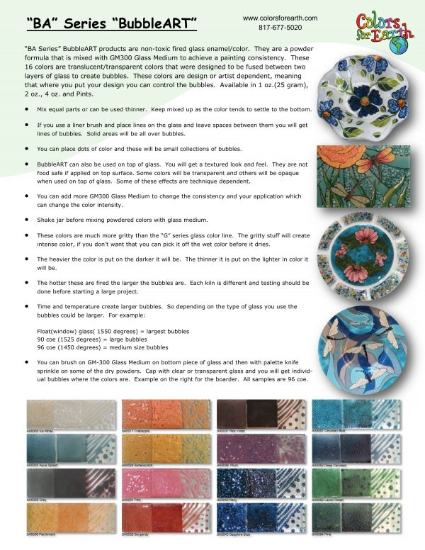 Colors for Earth: Glass Enamels - BA Series (BubbleART)